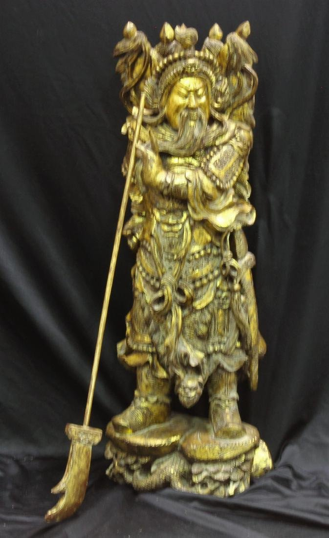Chinese Hand-Carved Gold Leaf Warrior Holding a Staff