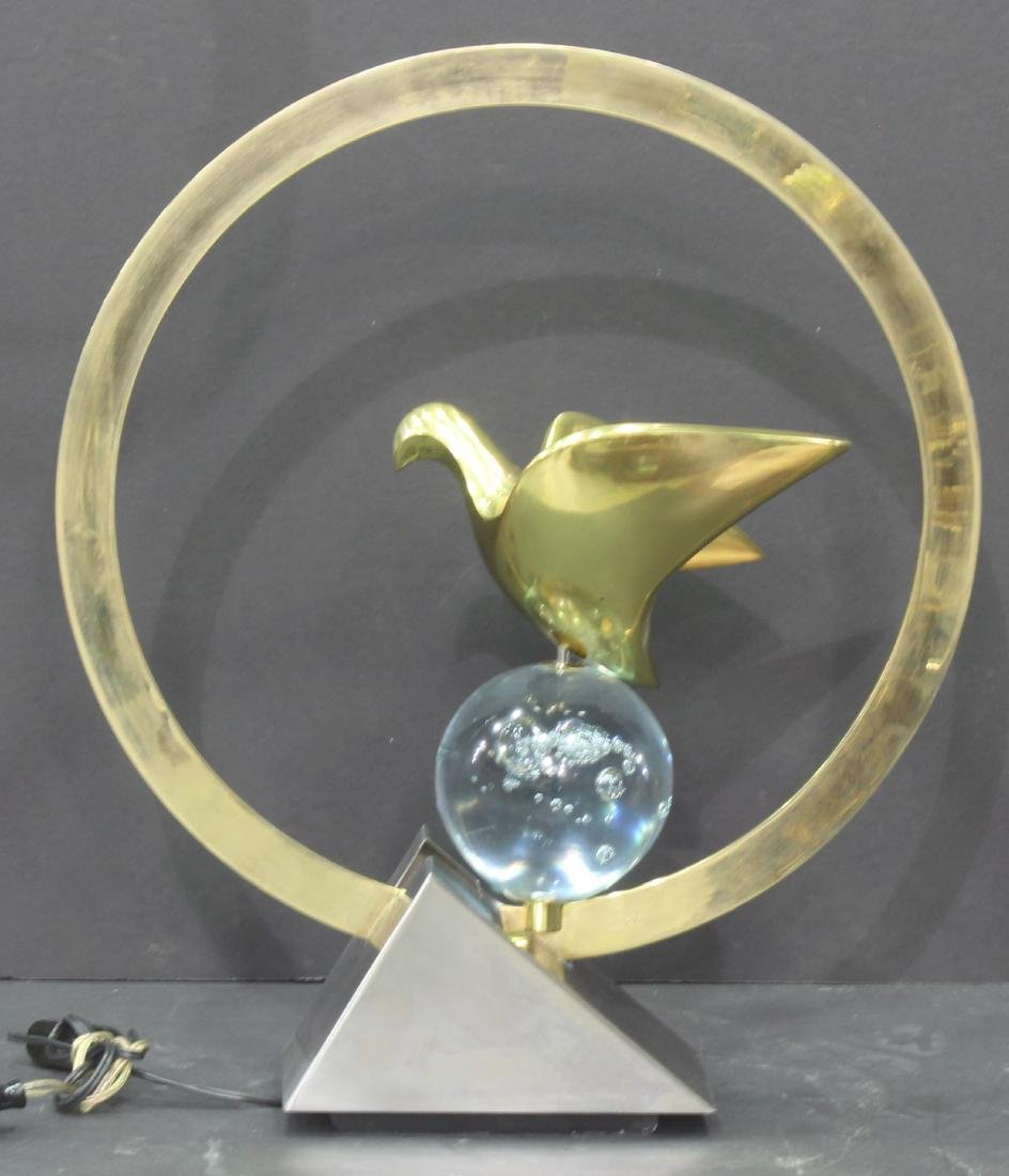 Midcentury Crystal Lighted Lamp