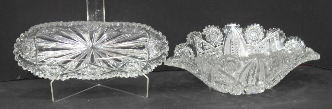2 American brilliant cut glass pieces