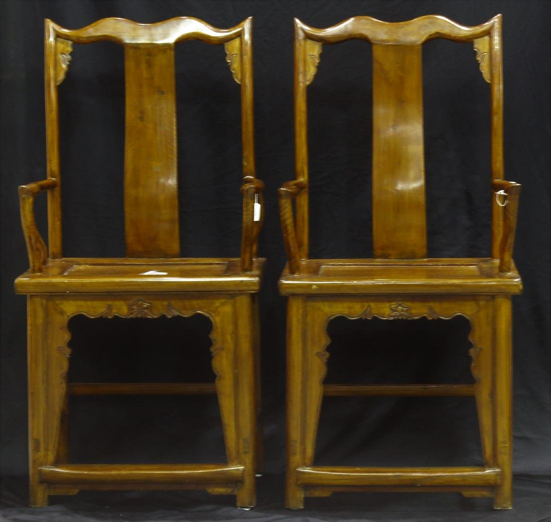 Pair of Chinese Hand Carved Arm Chairs