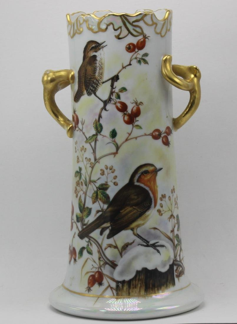 French Hand-Decorated 2 Porcelain Handle Vase