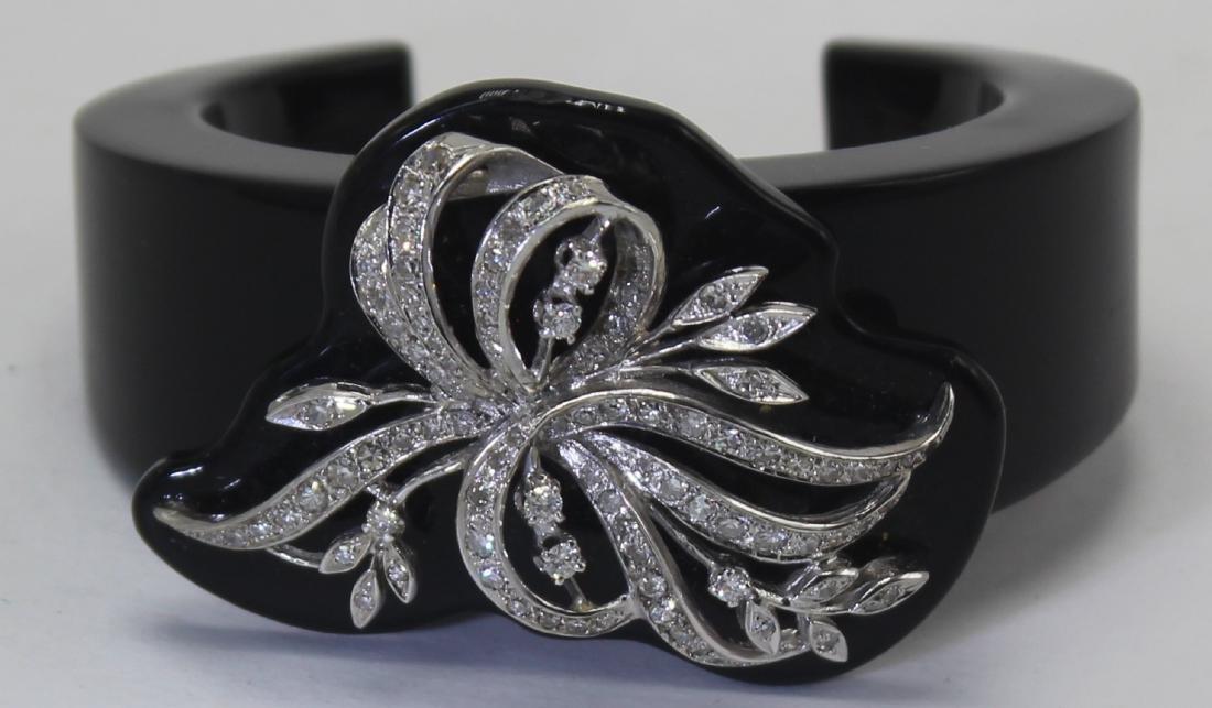 1950's Black Resin and Diamond Cuff Bracelet