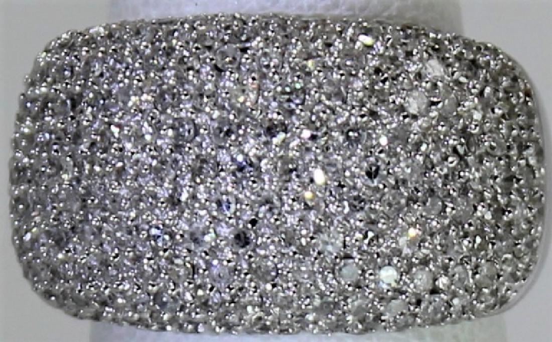 Contemporary 14K White Gold Pave Diamond Ring