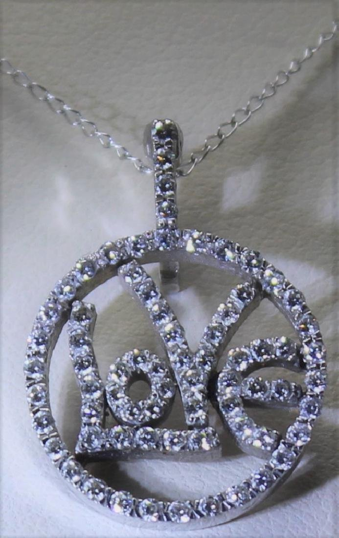 Contemporary White Gold and Diamond  Love Necklace
