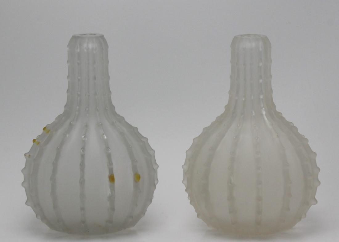 Pair Of Rene Lalique Bottle Signed Lalique
