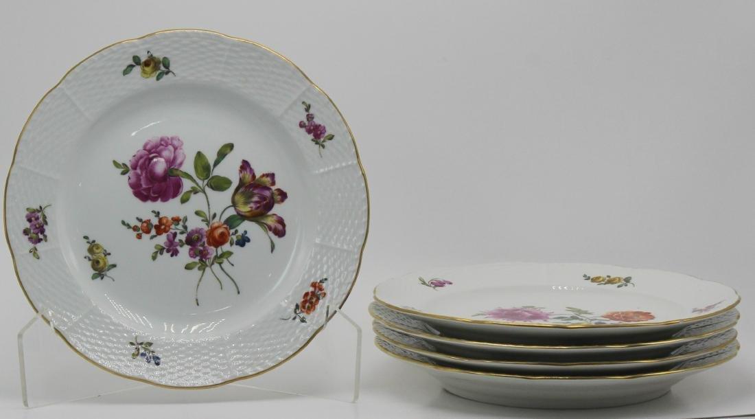 KPM  5 Piece Berlin Porcelain  Floral Plate