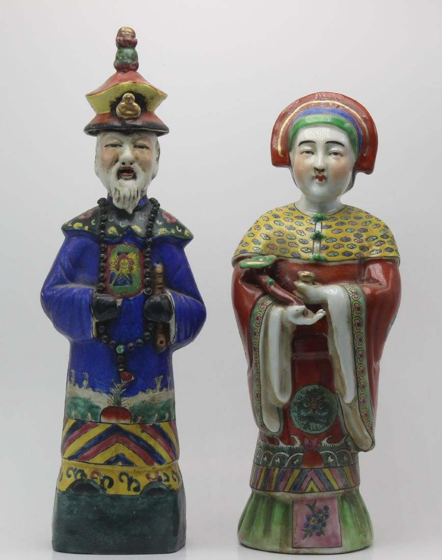 Pair of Chinese Porcelain Hand Decorated Figures