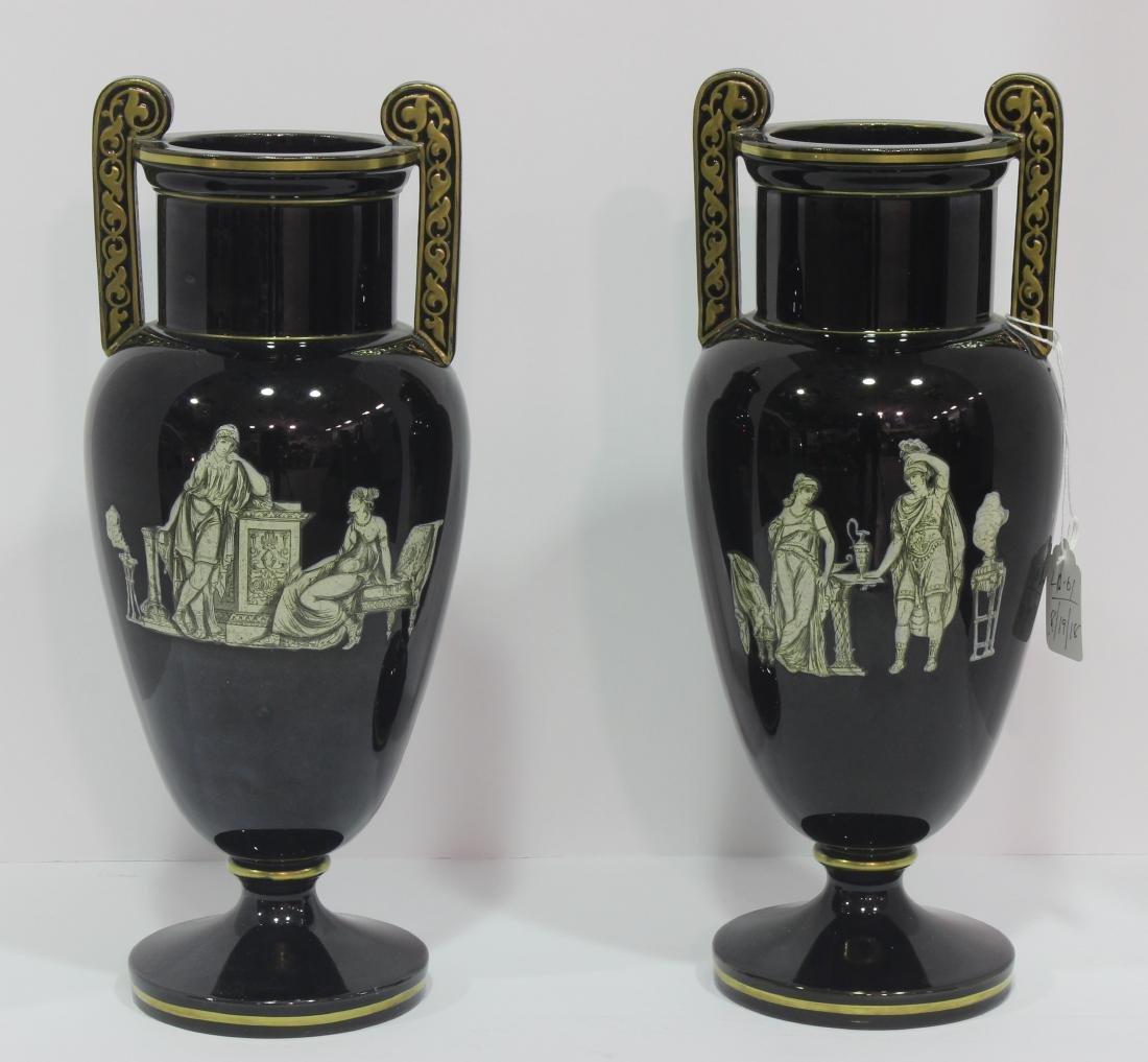 Pair of French Opaline glass vasses