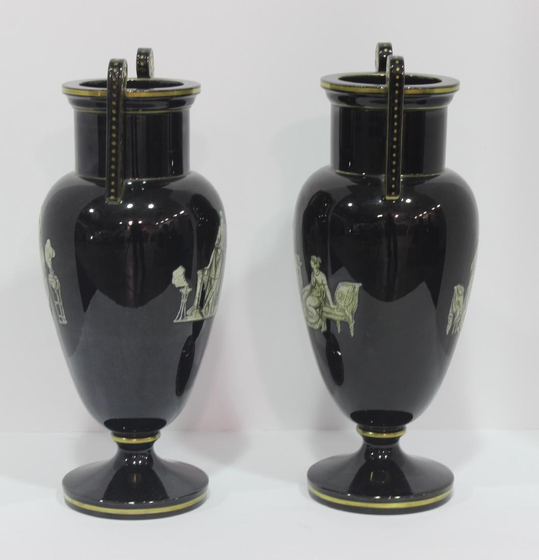 Pair of French Opaline glass vasses - 2
