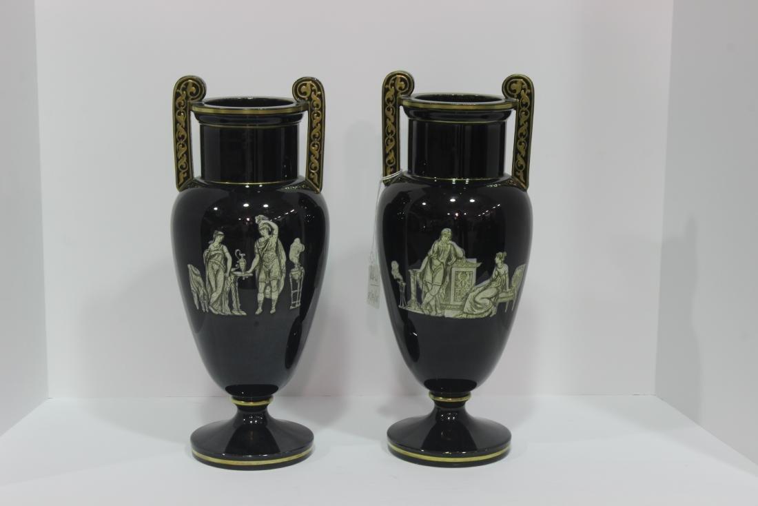 Pair of French Opaline glass vasses - 3