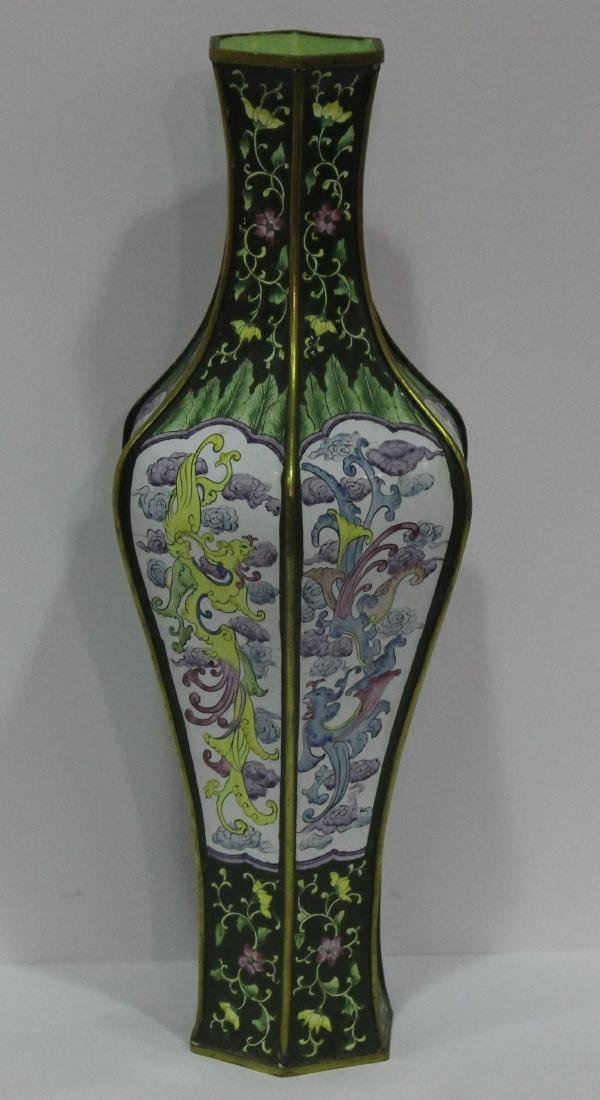 Chinese Enameled Floral 6 Sided Vase - 2