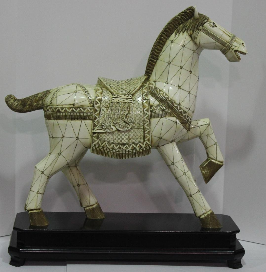 Chinese Bone Horse on Fitted Stand