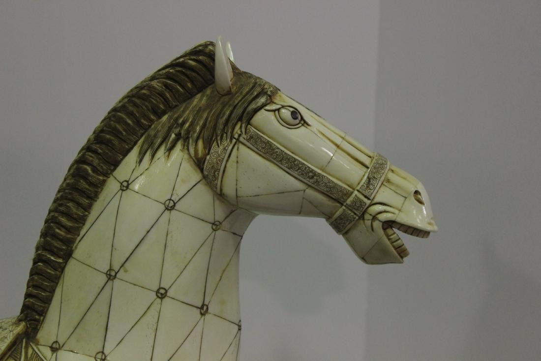 Chinese Bone Horse on Fitted Stand - 2