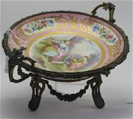 Antique French Sevres Centerpiece and Bronze Compote