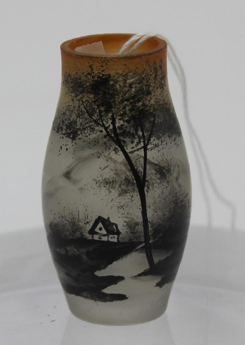 Art glass miniature hand parted vase