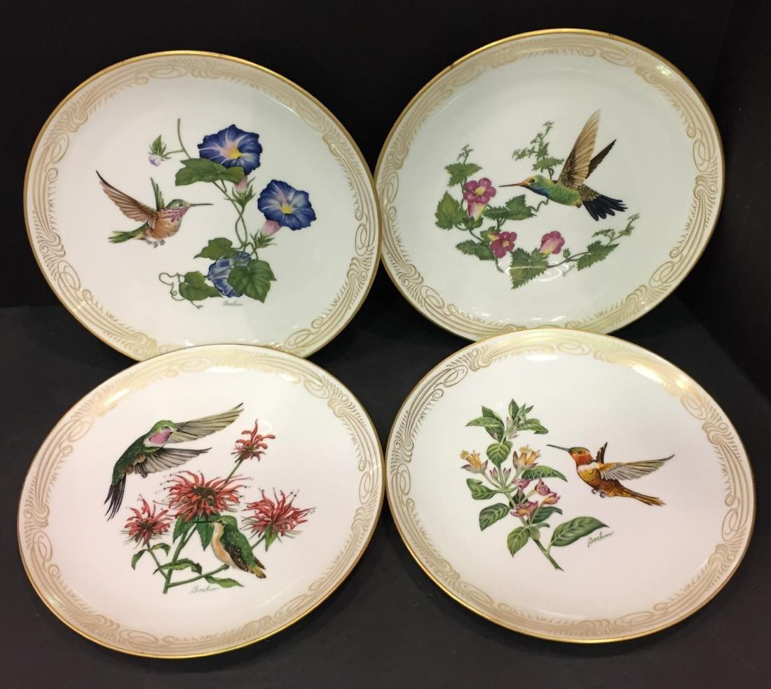 4 Pcs Boehm Porcelain Plates with Hand Painted Birds
