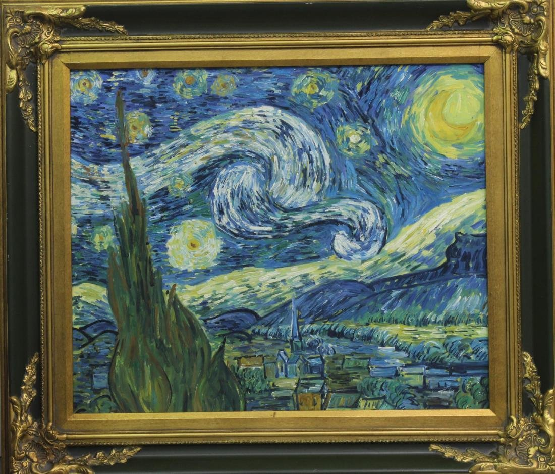 Style Van Gogh Acrylic on Canvas Painting the Starry
