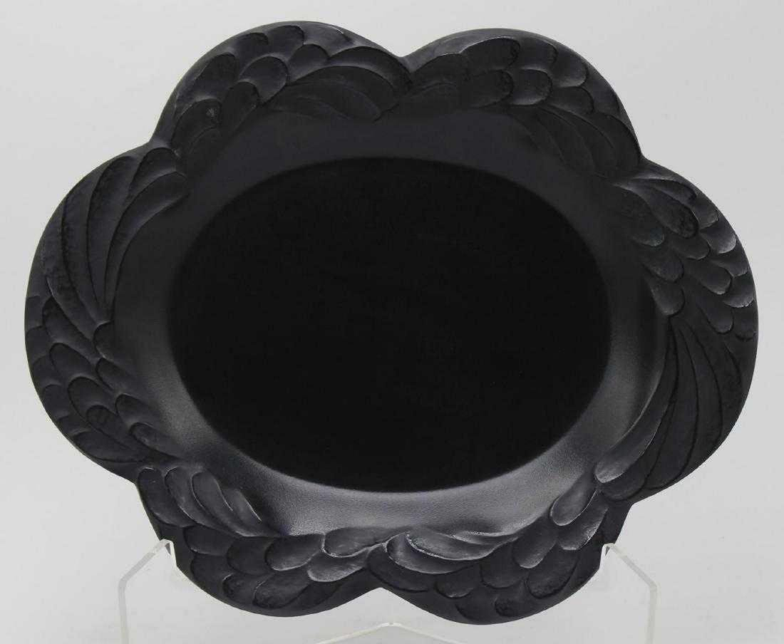 Lalique French Crystal Black Art Glass Tray