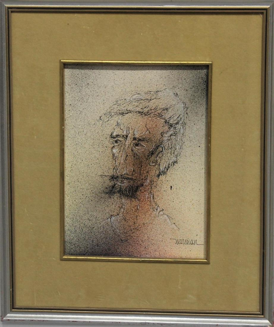 Leonardo Nierman Self Portrait Pen on Board