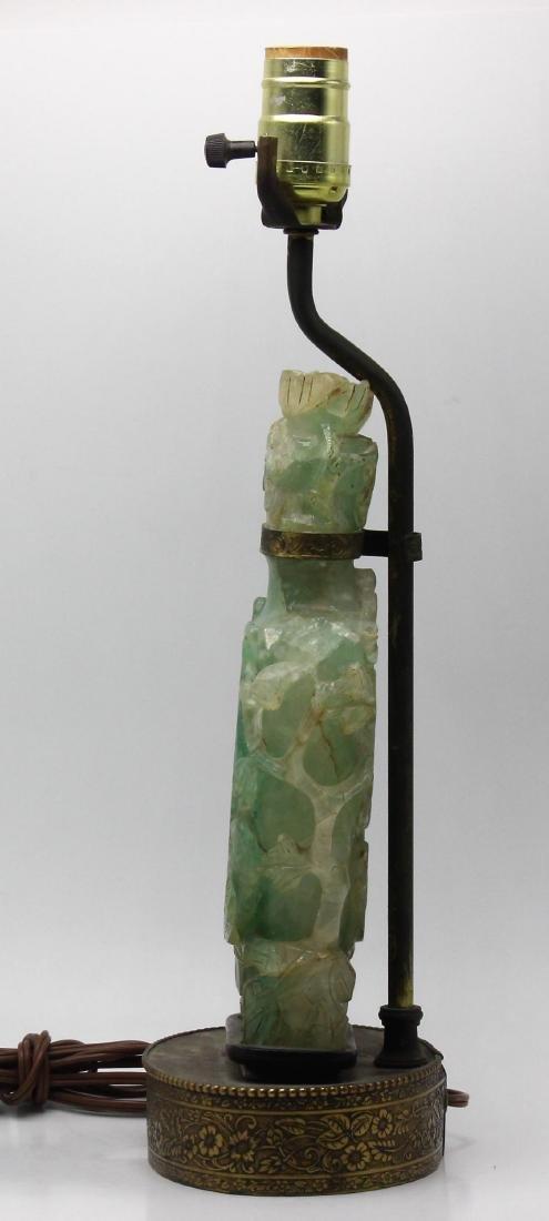 Chinese Jade Lidded Urn Lamp - 2