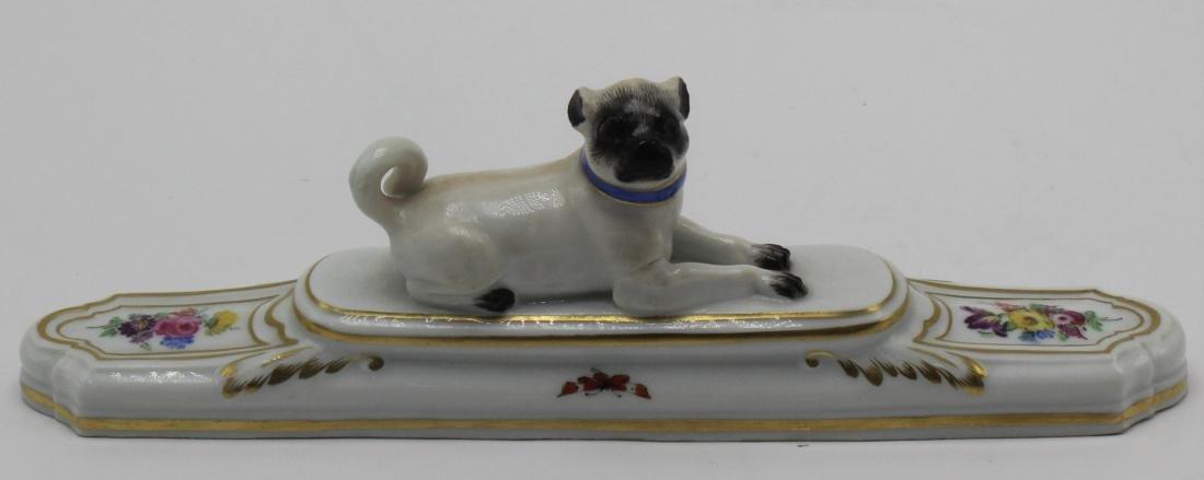 Antique Meissen pug dog
