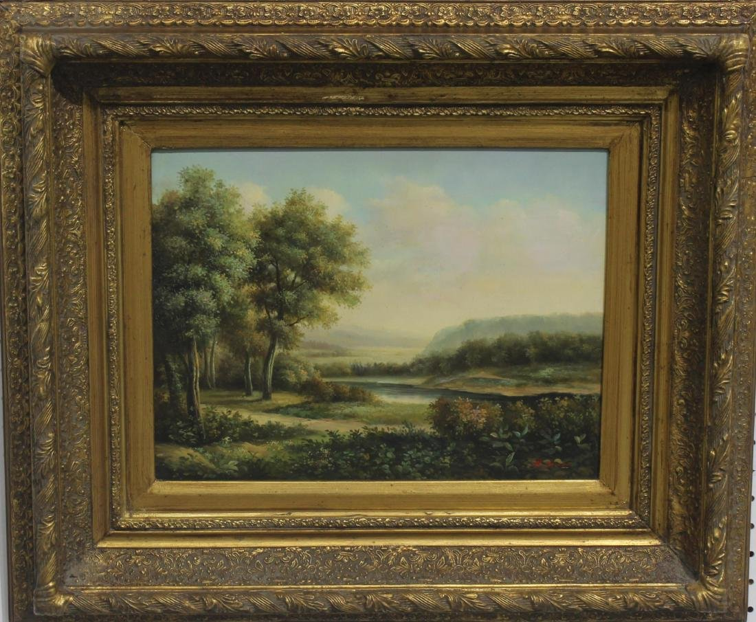 Antique oil painting on board landscape