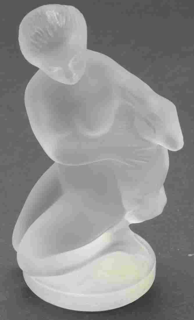 Lalique French Crystal Nude with Lamb Figure