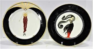 Two Pcs Erte Bone china Porcelain Plate le Soleil Ebony