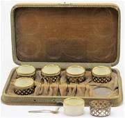 6 Pcs Sterling Silver and Lenox Porcelain Salt Service