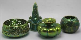 Lot of 4 pcs Zsolnay Green Eosin Hungary Porcelain