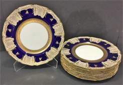 9 Pcs Royal Doulton Porcelain Plate Cobalt Blue with