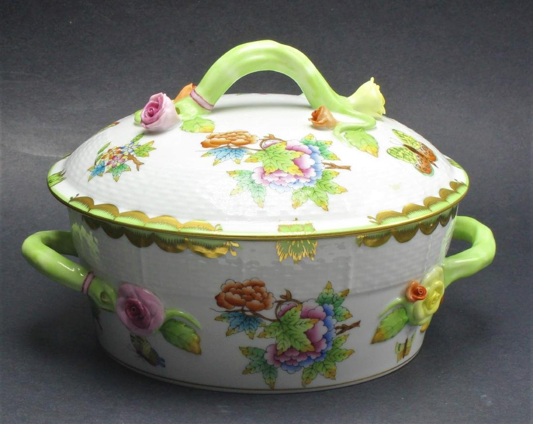 Herend Queen Victoria Porcelain Round Covered Vegetable