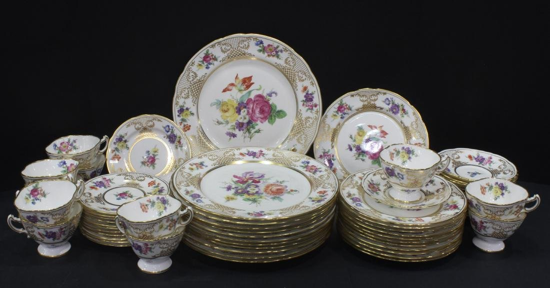Llammersley and Co. Bone China floral service Lot of 60