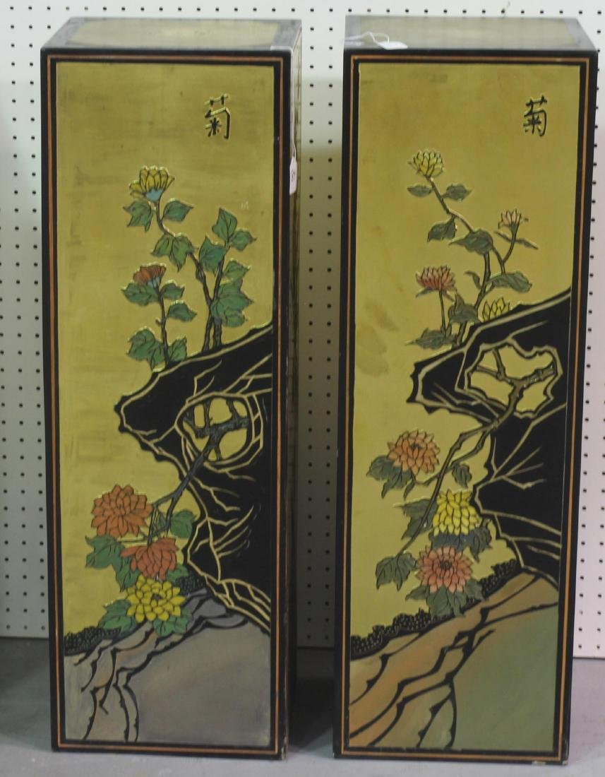 Pair of Chinese coromandel pedestals