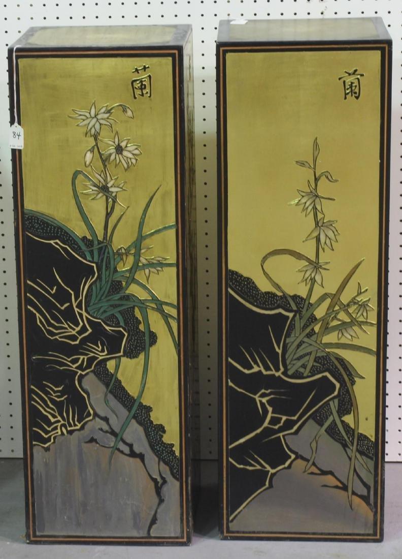 Pair of Chinese coromandel pedestals - 2