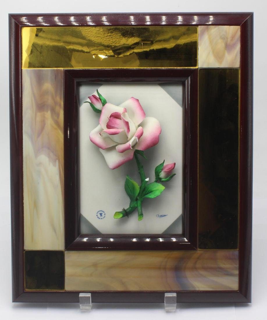 Capodimonte Porcelain Rose Flower Wall Plaque with Wood
