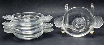5 pcs Lalique France Crystal Honfleur 2 Handle Trinket