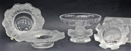 4 pcs Lalique France Crystal Leaf Bowls Nogent Compote