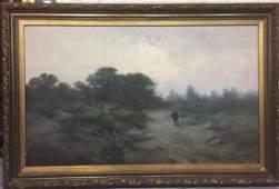 Antique American Landscape Oil Painting on Canvas
