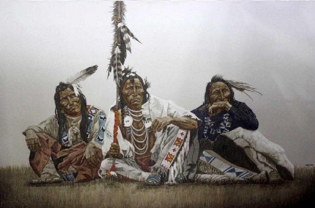 John Pace Native Americans Seated Oil on Canvas