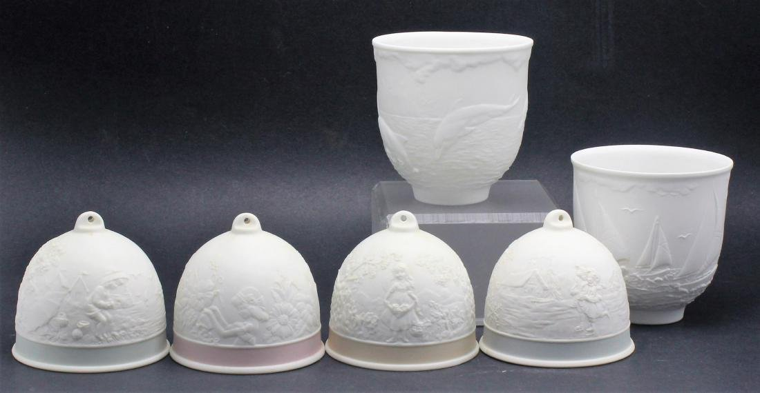 Lladro Four Bells and two collector cups