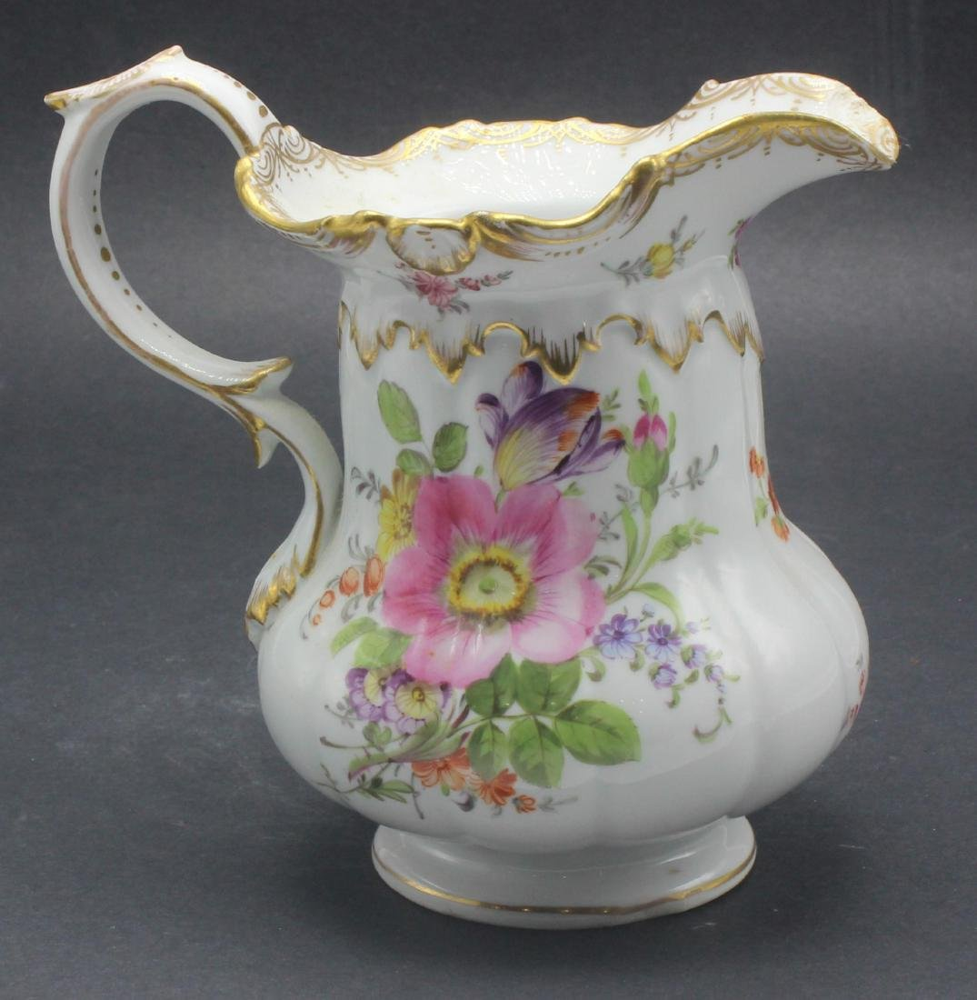 Meissen hand painted porcelain flower decorated pitcher
