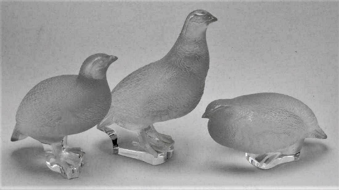Lalique Frosted Crystal Quail Figures signed Lalique