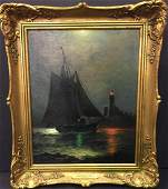 James Gale Tyler 1855-1931 Sailing Ship On A Moonlit