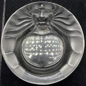 Lalique France Crystal Lion Head Dish