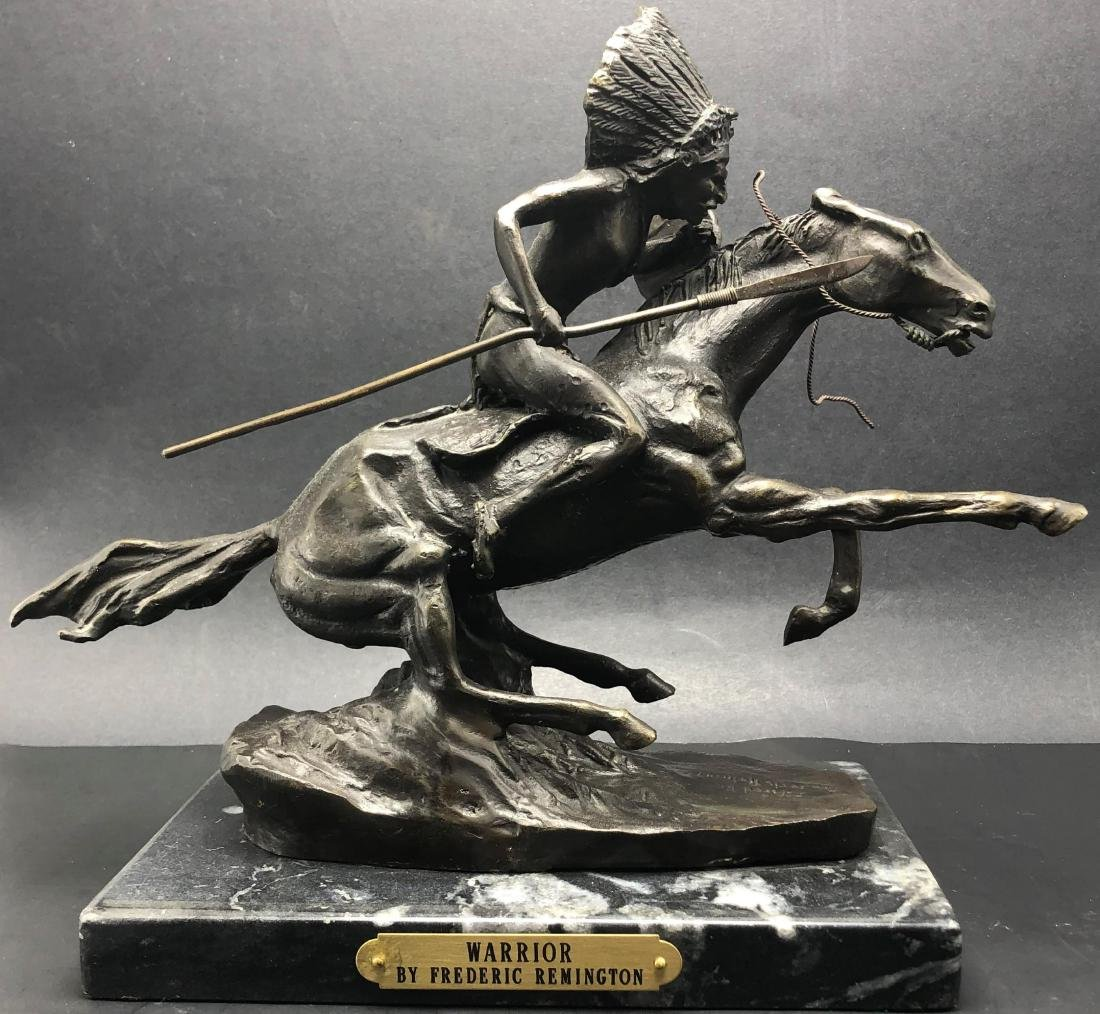 After Frederic Remington Warrior Bronze & Marble Base