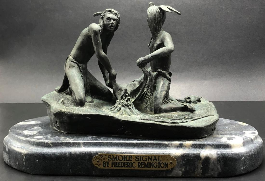 After Frederic Remington Smoke Signal Bronze & Marble