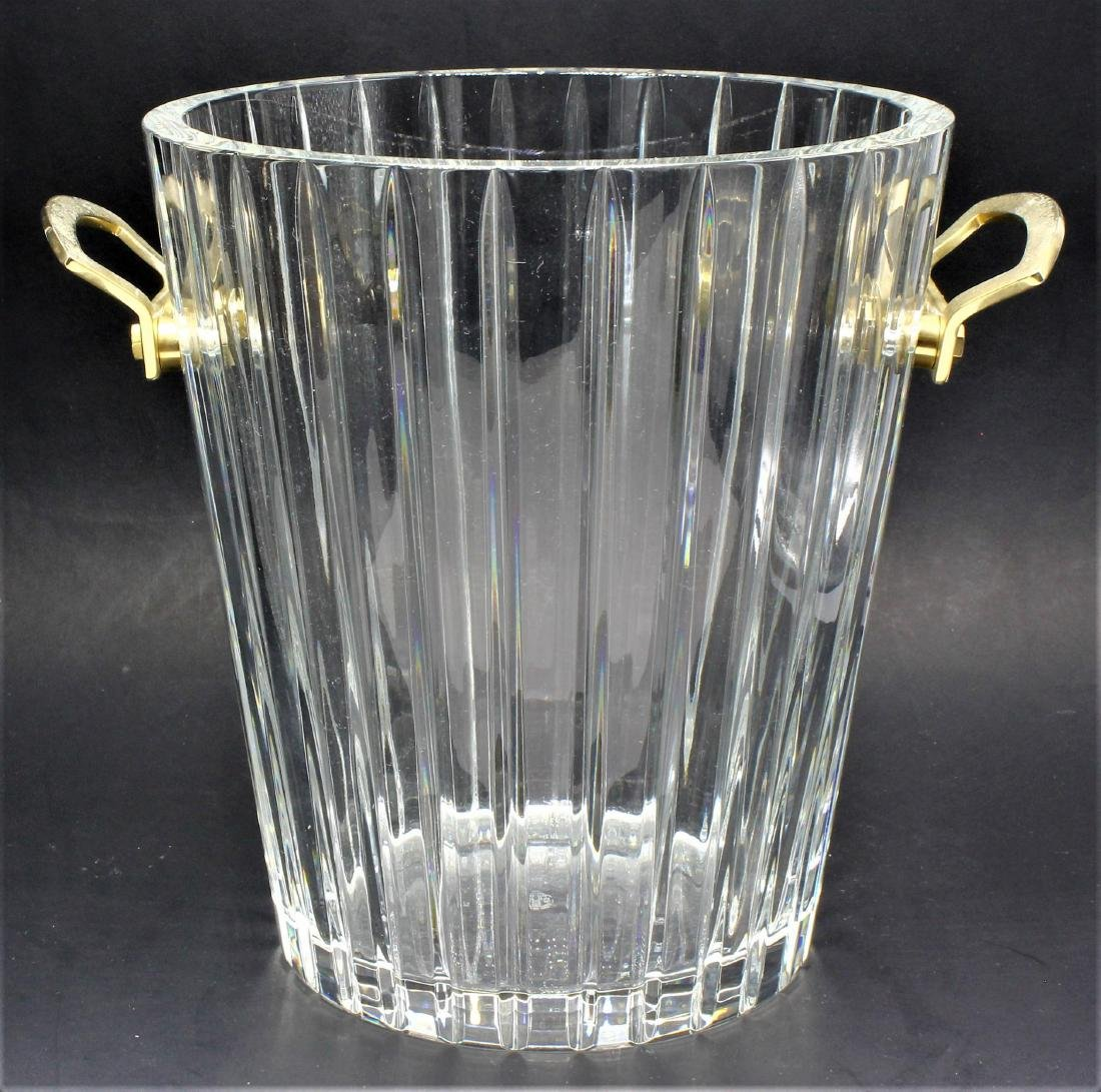 Baccarat Crystal Ice Bucket With Gilded Handle