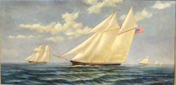 H Parker Clipper Ship Oil Painting on Canvas Late 20th