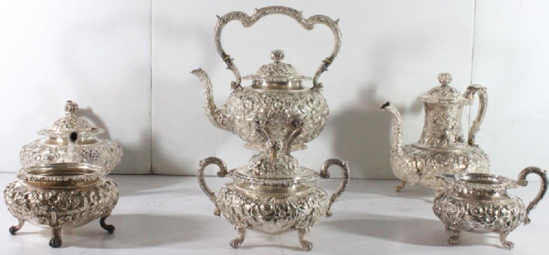 Kirk & Son's Co. Repousse Sterling Silver (6) pc. Tea